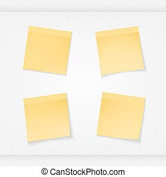 four stationery stickers - Yellow stick note isolated on...