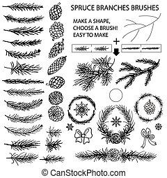 Spruce branches brushes,Pine cones,bow silhouette set -...