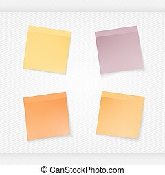 four stationery stickers - stick note isolated on white...