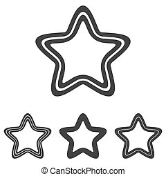 Black line pentagram logo design set - Black line pentagram...
