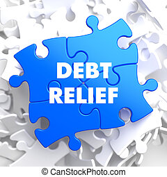 Debt Relief on Blue Puzzle - Debt Relief on Blue Puzzle on...
