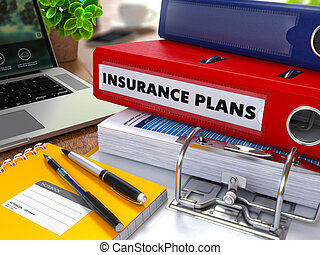 Red Ring Binder with Inscription Insurance Plans. - Red Ring...