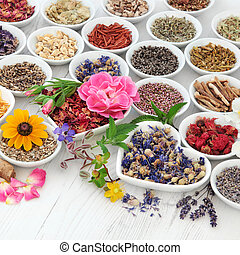 Natural Health Care - Flower and herb selection used in...