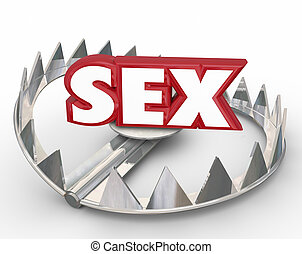 Sex Danger Bear Trap Jaws Catch Disease - Sex word in red 3d...