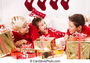 Smiling family in christmas time.