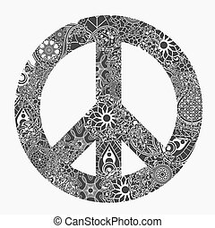 Peace symbol, round pacifism sign, Black and white...