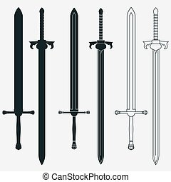Ancient Swords Set, Black silhouettes, Weapon Vector Design