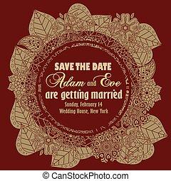 Wedding invitation vintage style.