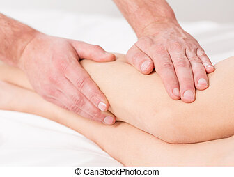 Massage lymphatic drainage therapy for swollen legs