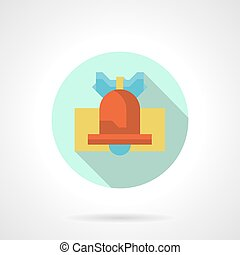 Red handbell round flat vector icon - Red handbell with blue...