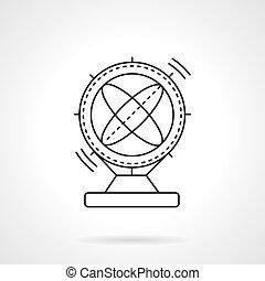 Flat line magnetic pendulum vector icon - Orbital magnetic...