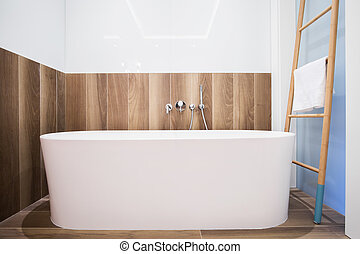 Exclusive and modern bathtub in the bathroom