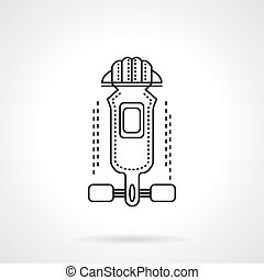 Longboard outfit flat line vector icon - Abstract symbol for...