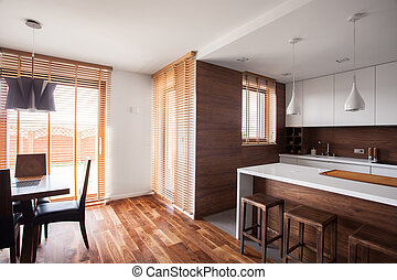 Wooden decorations and furnitures in the house