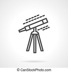 Black line telescope vector icon - Telescope on tripod...