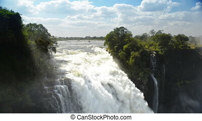 Victoria Falls Devils Cataract or Mosi-oa-Tunya waterfall in...