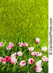 Decoration grass with flowers