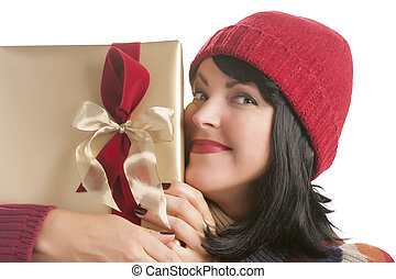 Happy Woman Holding Christmas Gift on White