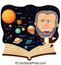 Illustrator of Galileo and book with universe