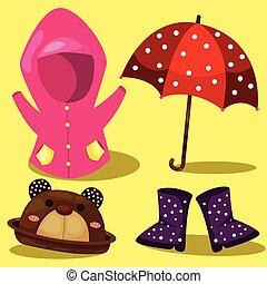 Illustrator of raincoat set