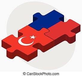 Turkey and Haiti Flags in puzzle isolated on white...
