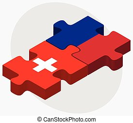 Switzerland and Haiti Flags in puzzle isolated on white...