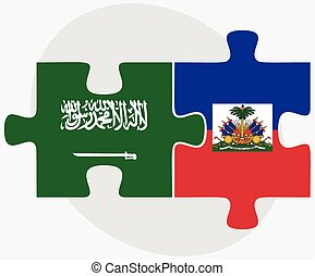 Saudi Arabia and Haiti Flags in puzzle isolated on white...