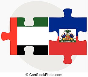 United Arab Emirates and Haiti Flags in puzzle isolated on...