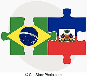 Brazil and Haiti Flags in puzzle isolated on white...