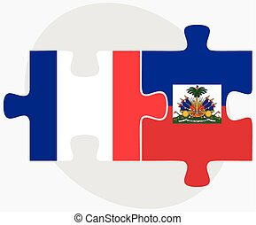 France and Haiti Flags in puzzle isolated on white...