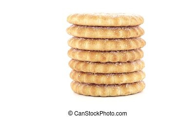 Rings biscuits pile isolated on a white background.