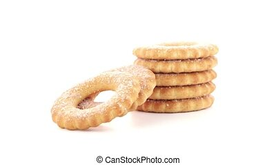 Rings biscuits pile isolated on a white background