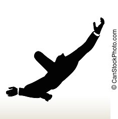 silhouette of businessman falling - illustration in...