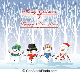 Cartoon funny snowman