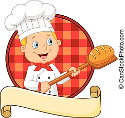 Little chef is cooking bread