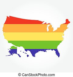 Rainbow flag in contour of USA - Lgbt flag in contour of...