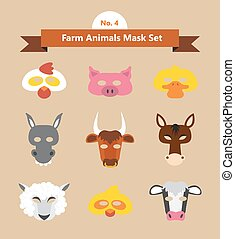 set of animal masks for costume Party illustration