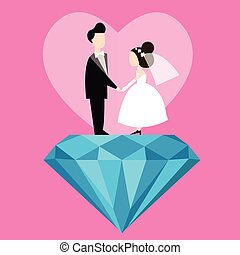 man woman married wedding bride cartoon with blue diamond...