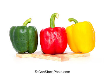Bell pepper,3 colors capsicum or sweet pepper on white...