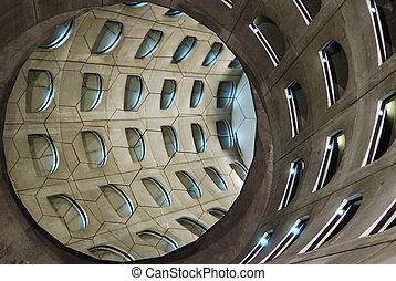 Helical underground car park - Reflexion thru mirrors of an...