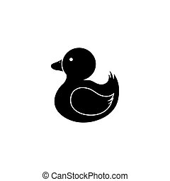 Duck toy Silhouette illustration - Abstract cute duck toy on...
