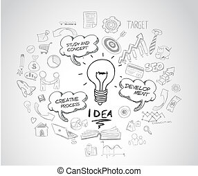 idea concept with light bulb and doodle sketches infographic...