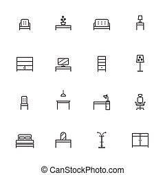 Home Furniture Icons Set. Line icon