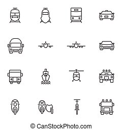 Vehicle icon sets. Line icons.