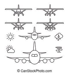 Airplane icons, Line icon