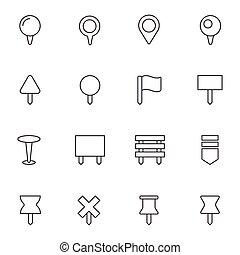 Navigation pins icons set