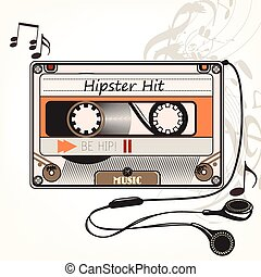 Hipster vector music background with old cassete and headphones hipster hit symbol.eps