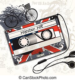 Hipster vector music background with old cassete decorated by British flag bycicle and headphones hipster hit symbol.eps