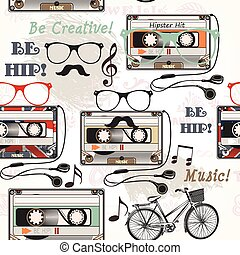 Hipster vector seamless background with old cassete headphones notes bike and glasses.eps