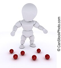 man juggling with red balls-dropped - 3D render of a man...